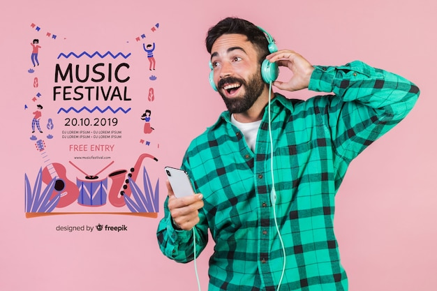 Happy man listening music with poster template