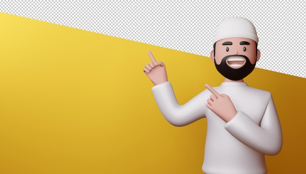 Happy man pointing fingers, 3d rendering