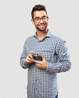Happy man taking photos