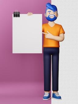 빈 화면 및 빈 보드 3d 렌더링 행복 한 사람