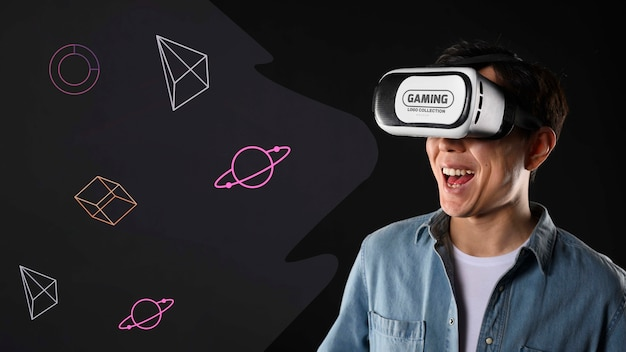 Happy man with vr glasses