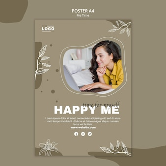 Счастливый меня плакат шаблон концепции