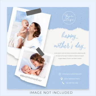 Happy mother's day greeting social media banner template