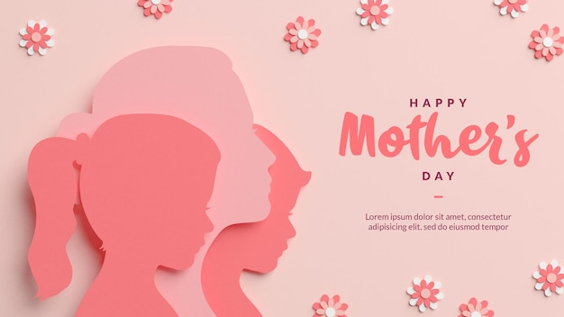 Happy mother's day silhouettes in papercut style template