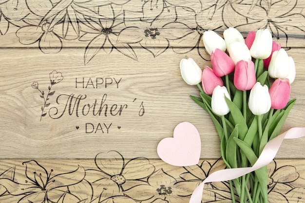 Happy mother's day with bouquet of tulips
