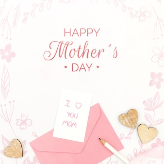 Happy mother's day with with message card and envelope