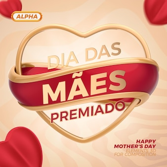 Happy mothers day 3d rendering premium psd