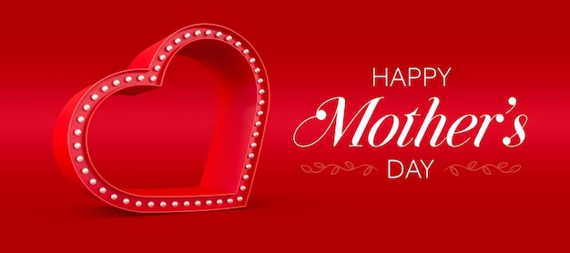 Happy mothers day banner with hearts and lights 3d render