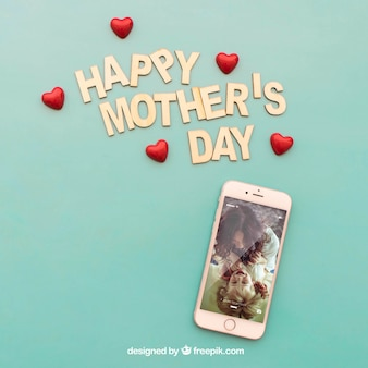 Happy mothers day lettering and smartphone