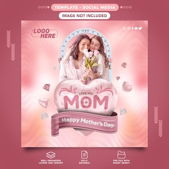 Happy mothers day social media banner with editable text