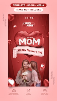 Happy mothers day social media template stories for heart composition