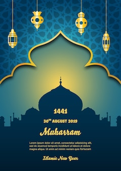 Happy muharram with golden gate poster