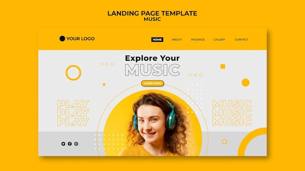 Happy music landing page template