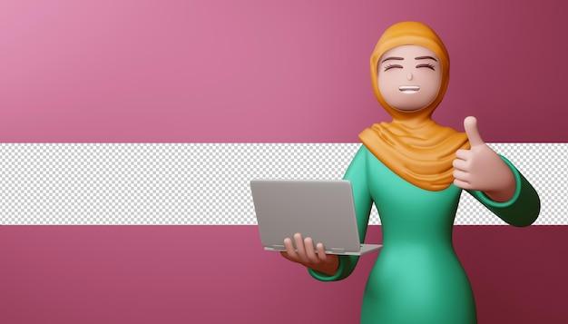 Счастливая мусульманская девушка показывает палец вверх с блокнотом в 3d-рендеринге