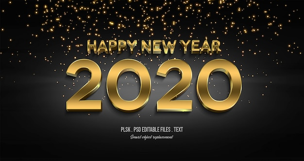 Happy new year 2020 3d text style effect