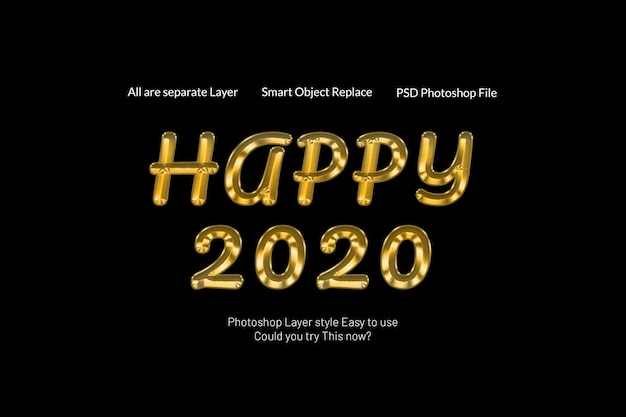 Happy new year 2020 creative modern 3d golden text style effect