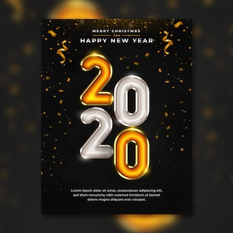 Happy new year 2020 flyer template premium psd