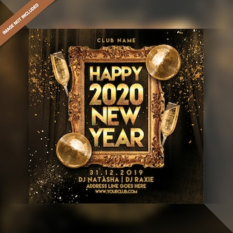 Happy new year 2020 party flyer