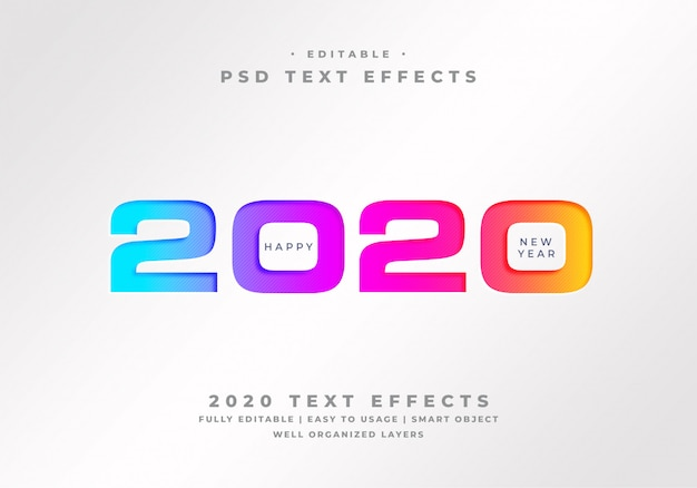 Happy new year 2020 text style effect