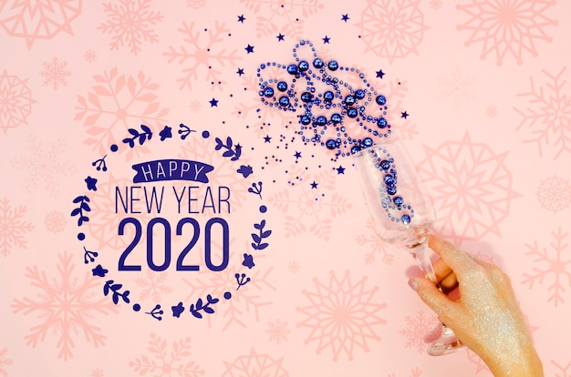 Happy new year 2020 with blue tinsel