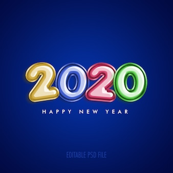 Happy new year 2020 with metallic colorful balloons