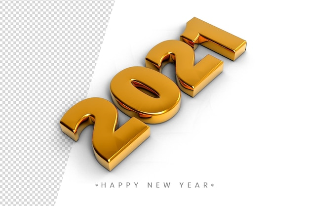 Happy new year 2021 3d gold text effect