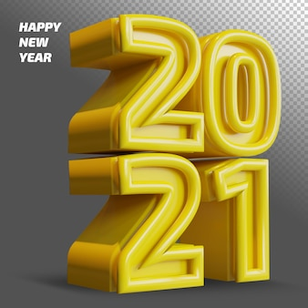 Happy new year 2021 bold number 3d render isolated