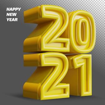 새해 복 많이 받으세요 2021 굵은 숫자 3d 렌더링 절연