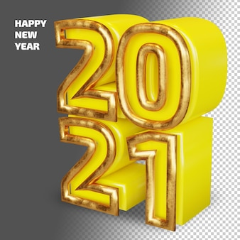 Happy new year 2021 bold number high quality 3d render isolated mockup