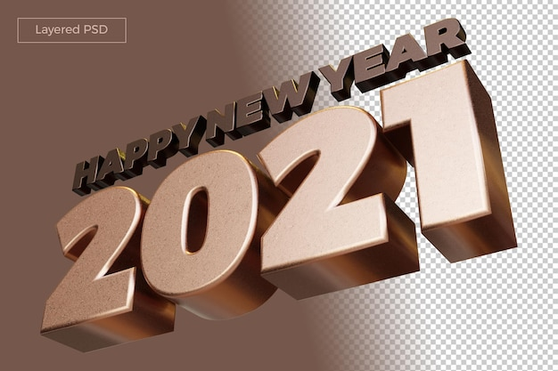Happy new year 2021 bold number high quality 3d render isolated