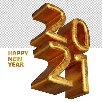 Happy new year 2021 golden bold 3d render isolated