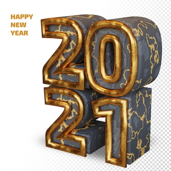 Happy new year 2021 golden bold number 3d render isolated