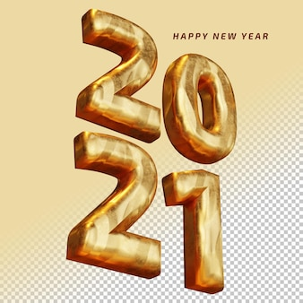 Happy new year 2021 golden bold number high quality 3d render isolated mockup