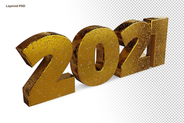 Happy new year 2021 golden bold number high quality 3d render isolated