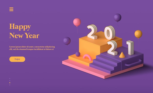 Happy new year 2021 landing page with 3d objects rendering