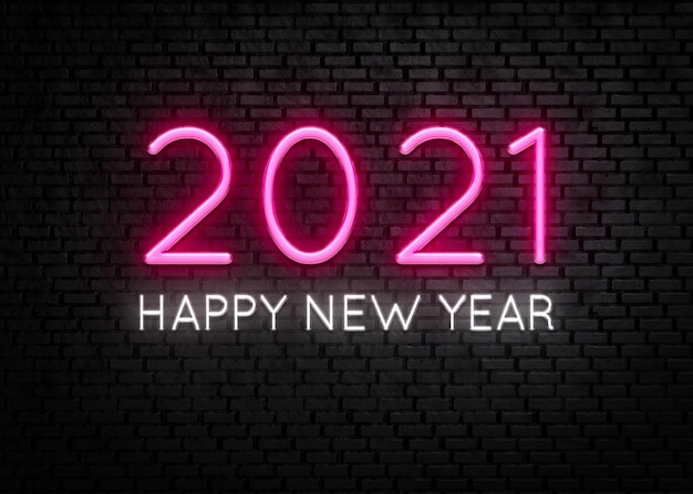 Happy new year 2021 neon light