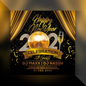 Happy new year 2021 party flyer