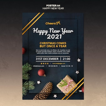 Happy new year 2021 poster template