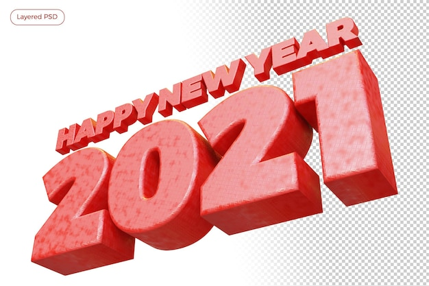 Happy new year 2021 red bold number high quality 3d render isolated