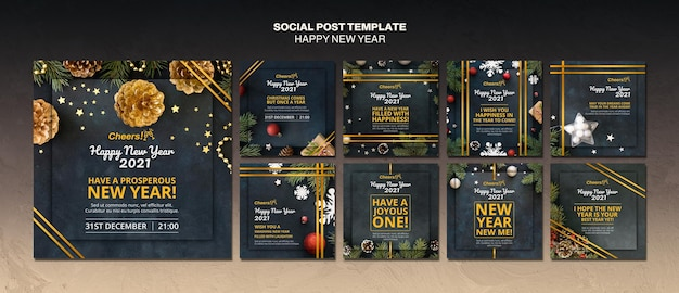 Happy new year 2021 social media post template