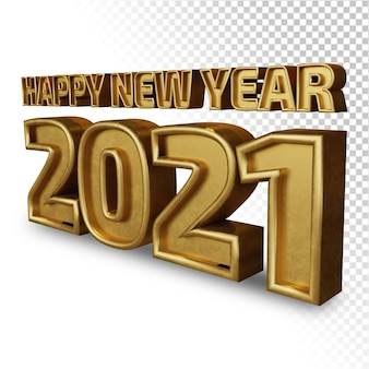Happy new year 2021 twenty twenty one bold letter 3d render golden shine isolated