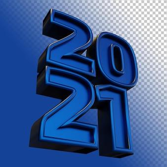 Happy new year 2021 twenty twenty one bold number 3d render blue shine isolated