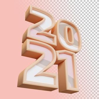 새해 복 많이 받으세요 2021 20 21 굵은 숫자 3d 렌더링 절연