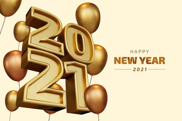 Happy new year 2021 twenty twenty one bold number 3d render isolated