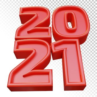 Happy new year 2021 twenty twenty one bold number 3d render red isolated