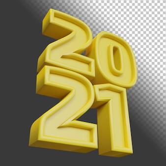 Happy new year 2021 twenty twenty one bold number 3d render yellow isolated