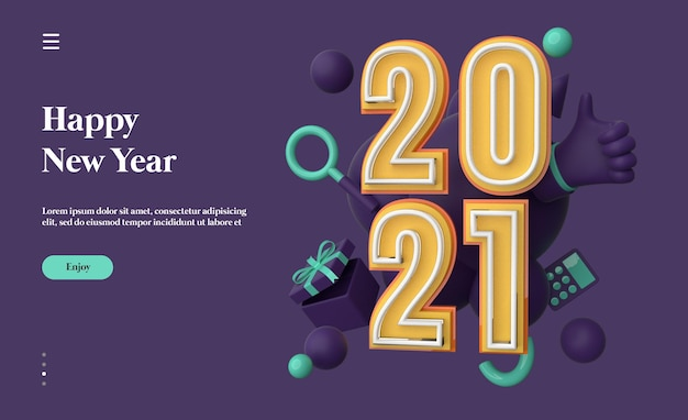 3d 개체 렌더링으로 새해 복 많이 받으세요 2021
