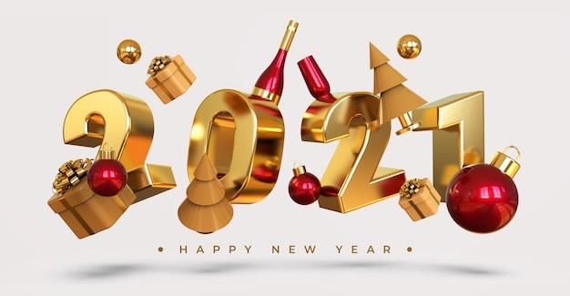 Happy new year 2021 with 3d objects rendering