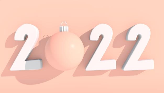 2022년 새해 복 많이 받으세요. 기하학적 모양과 크리스마스 공이 있는 3d 숫자입니다. 3d 렌더링입니다.