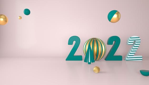 С новым 2022 годом. 3d-числа с геометрическими фигурами и елочным шаром. 3d визуализация.